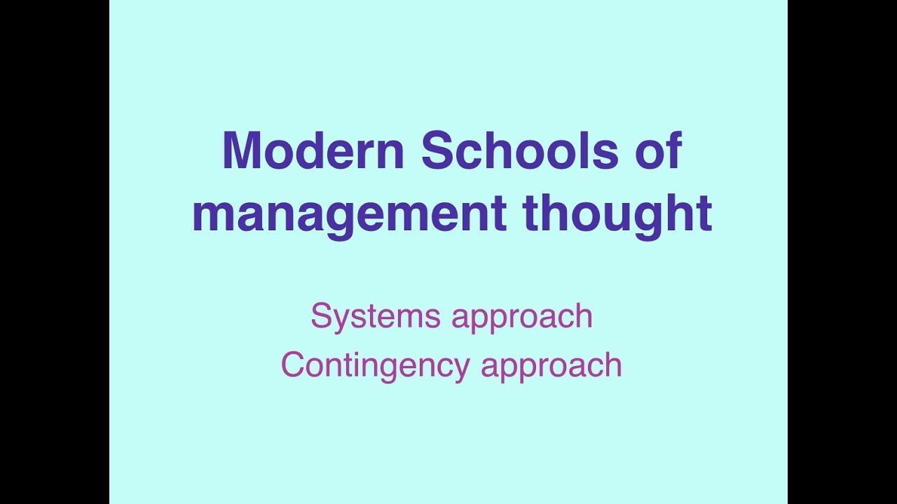 modern management school of thought
