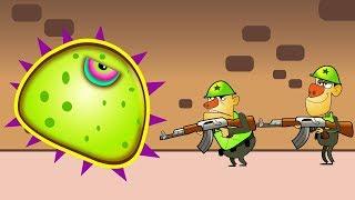 ХИЩНАЯ СЛИЗЬ ест ВОЕННЫХ приключения в АРМИИ Мультик игра для Детей Mutant Blobs Attack