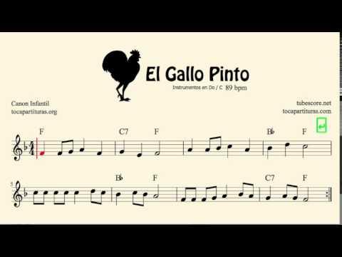 El Gallo Pinto Partitura de Violín Canon Infantil Tutorial