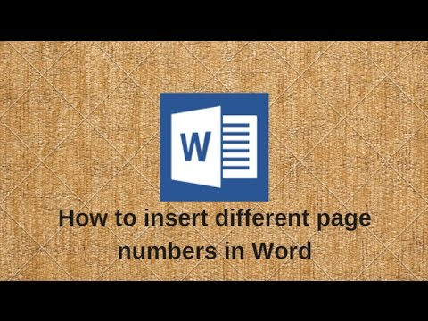 How To Insert Different Page Numbers In Word