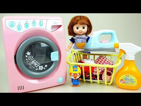 Thumbnail: Washing machine with Baby Doll and Play Doh Ice cream maker toy