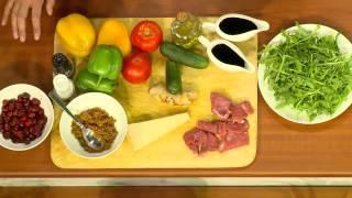 """Вкусные Рецепты: """"Теплый мясной салат с соусом из вишни""""."""