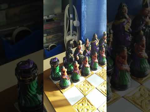 Chess Set Made From Moulds And Painted.