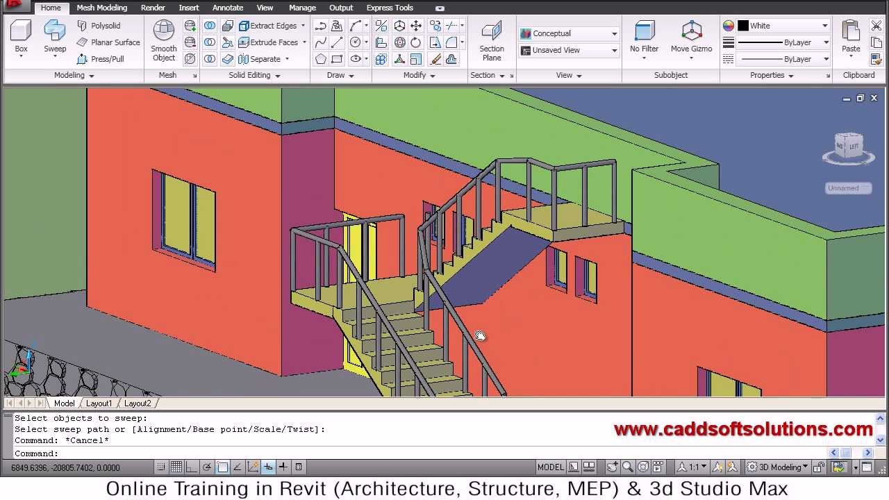 Autocad 3d house modeling tutorial 8 3d home 3d for 3d plan drawing