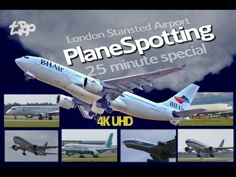 Plane Spotting London Stansted Airport Airbus A330 BHAir Qatar 777 Montenegro E-Jet 25Min Special