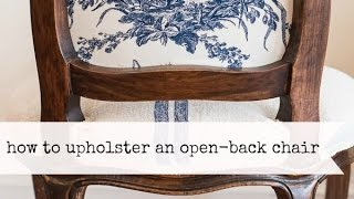 how to upholster the back of an open frame chair | miss mustard seed