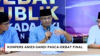 Video Pasca-Debat Final, Anies-Sandi Sudah Siapkan Program 100 Hari Kerja download MP3, 3GP, MP4, WEBM, AVI, FLV Agustus 2017