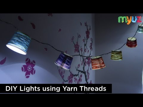 DIY - Paper Cup Light Garland ( Home Decor using Thread Yarns )