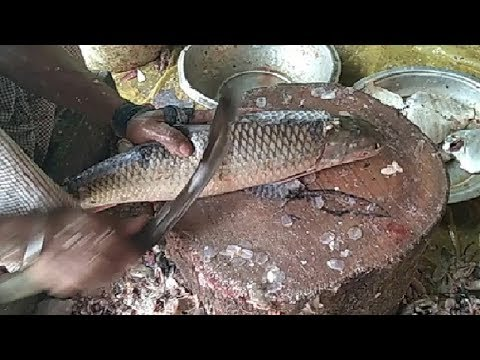 Professional Fish Cutting Skills Live 2019 in Fish Market | Fastest Mrigal fish cutting.