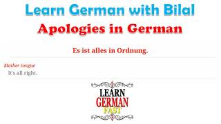 Learn German with Bilal:- Apologies in German