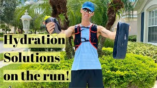 HYDRATION SOLUTIONS FOR RUNNING: waist pack, handheld bottle, or back pack.