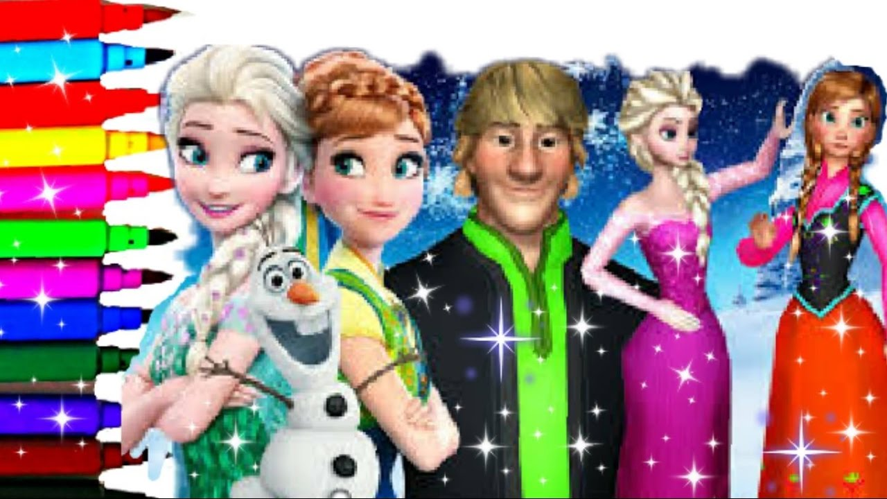 Coloring Page Compilation Disney Frozen Cinderella Elsa Anna Kristoff Hans Sven Olaf Kids Fun Art