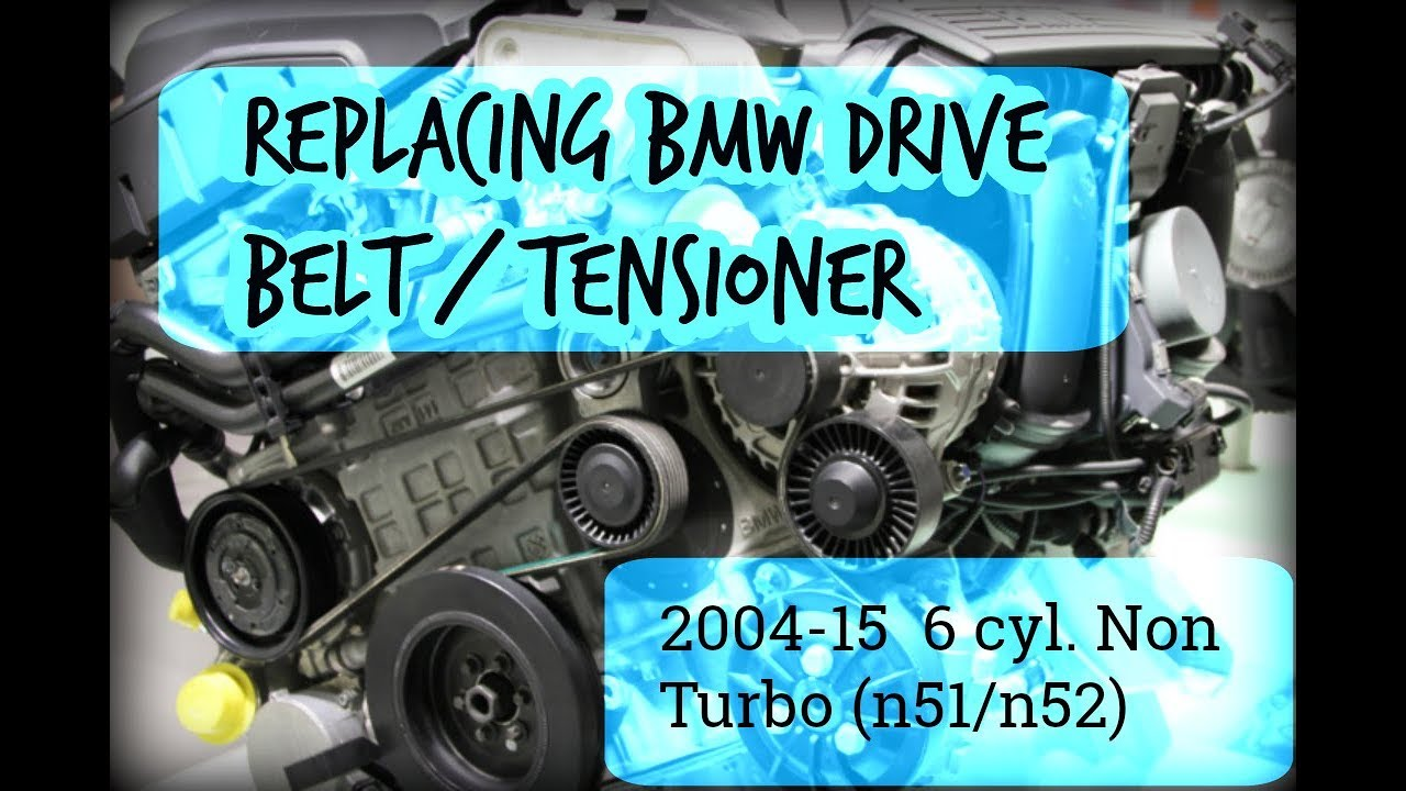 hight resolution of how to replace drive belt w tensioner on bmw 6 cylinder 2004 15 2007 bmw x3 serpentine belt diagram also bmw drive belt routing