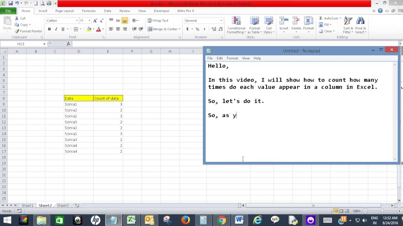 Count How Many Times Do Each Value Appear In A Column In Excel