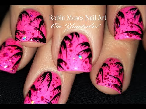 Easy Tropical Design for Short Nails! Neon Pink Summer Nail Art Tutorial