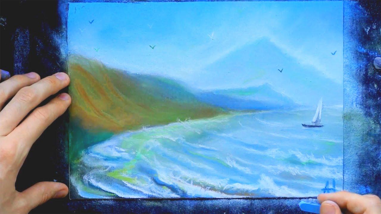 как рисовать пастелью морской пейзаж