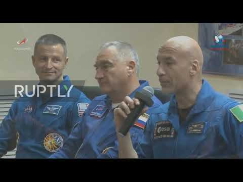 Kazakhstan: ISS Expedition 60-61 crew hold pre-flight press conference in Baikonur