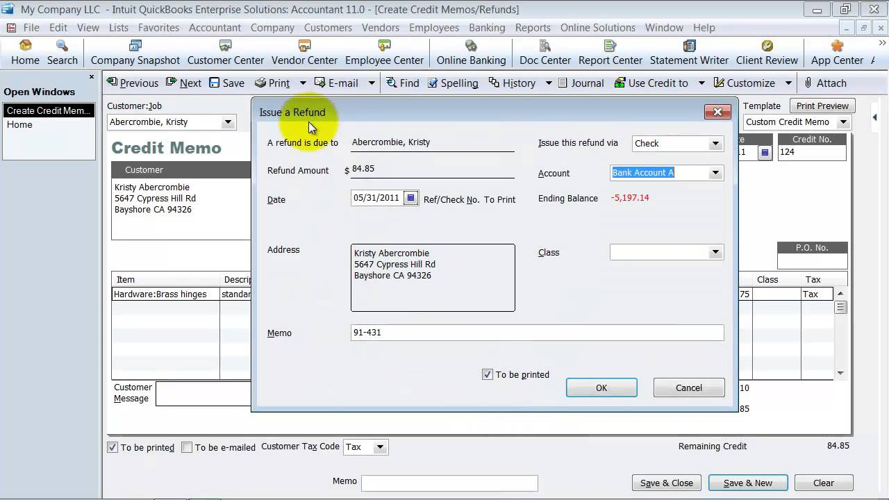 quickbooks online apply credit memo QuickBooks Training - Create a Credit Memo and Apply to an Invoice ...