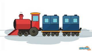 How to Draw a Train - Learn Drawing Art and Colors for Kids | Kids Education by Mocomi