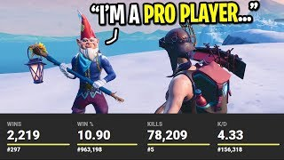I got CARRIED by a pro FaZe Fortnite player... (HE HAS 2,219 WINS!)
