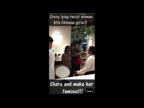 Crazy lying racist woman hits Chinese girls, share and make he...