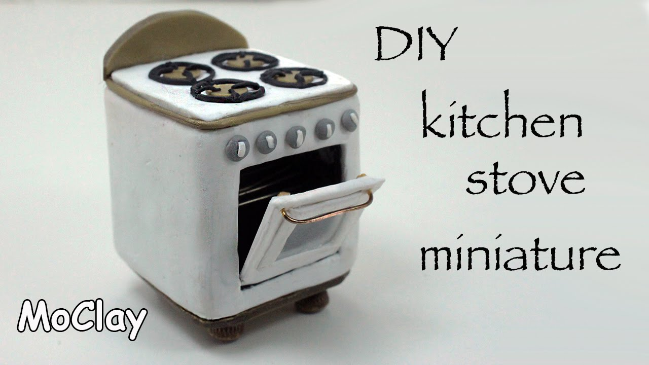 Miniature Dollhouse Kitchen Furniture Diy How To Make A Dollhouse Stove Polymer Clay Tutorial Youtube