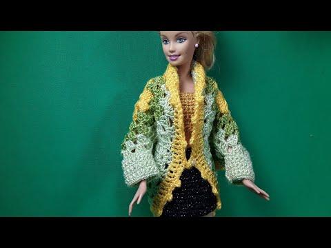 Кокон кардиган и бабушкин квадрат. Мастер-класс.  Cocoon Cardigan. Crochet Barbie.