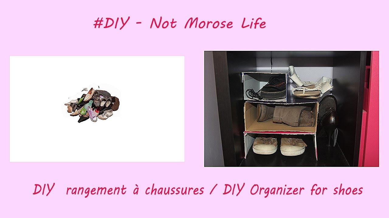diy rangement pour chaussures avec une boite en carton diy organizer for shoes youtube. Black Bedroom Furniture Sets. Home Design Ideas