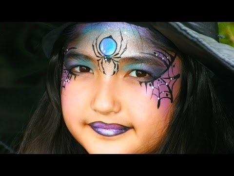 Witch face painting tutorial - Pretty witch and spider makeup for ...
