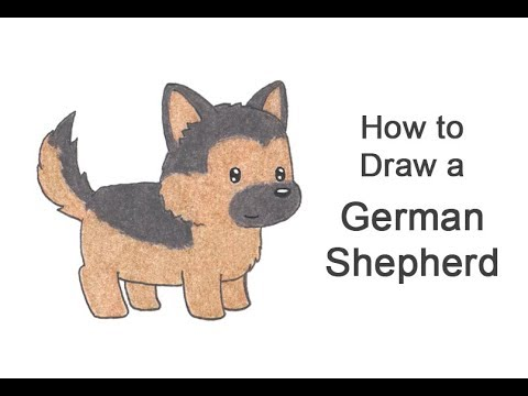 How To Draw A Dog Cartoon German Shepherd Youtube