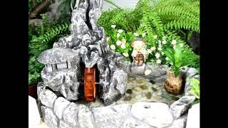 계곡 물레방아 분수와 돌 수반으로 물의 정원 꾸미기