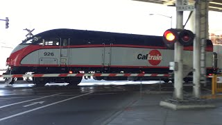Caltrain 926 Bullet Southbound, 16th Street Railroad Crossing Under Freeway, New Rail Cars