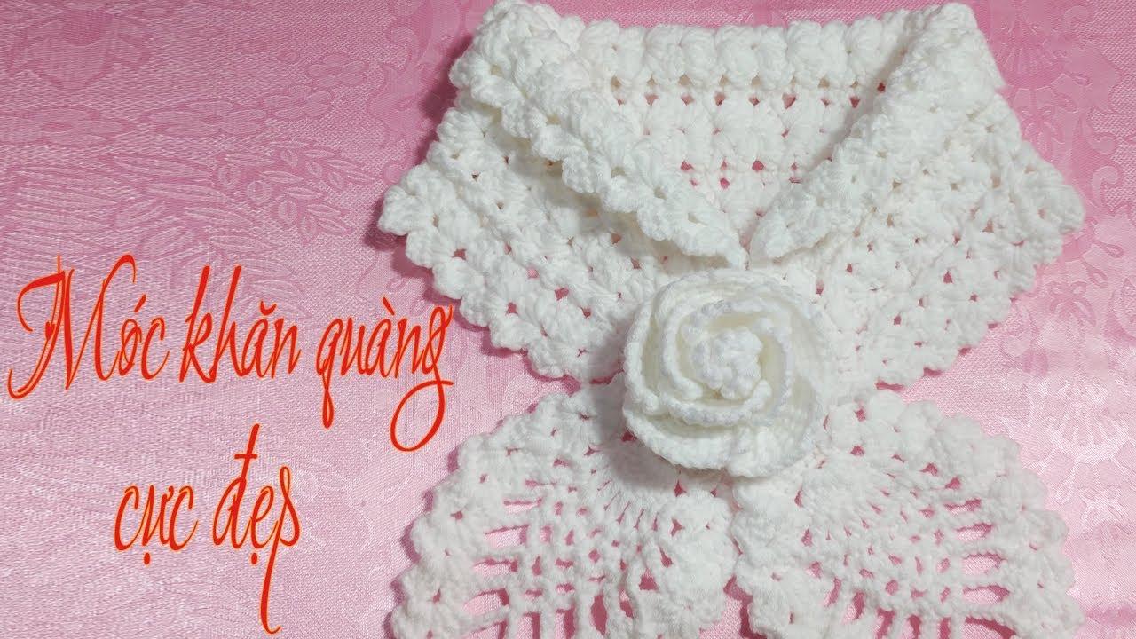 How to Crochet Scarf Tutorial Engsub   Hướng dẫn móc khăn choàng cổ cực đẹp