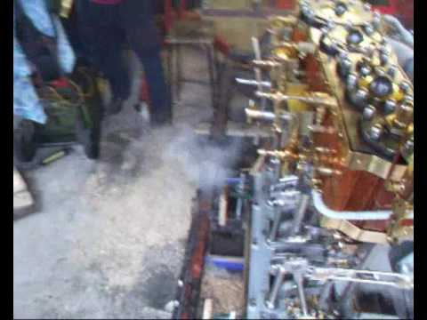 Triple Expansion Steam Engine running with a brake under Load.