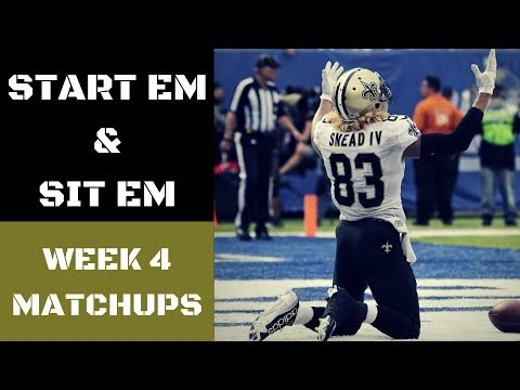 NFL Week 4 Start Em and Sit Em Matchups | Fantasy Football 2017