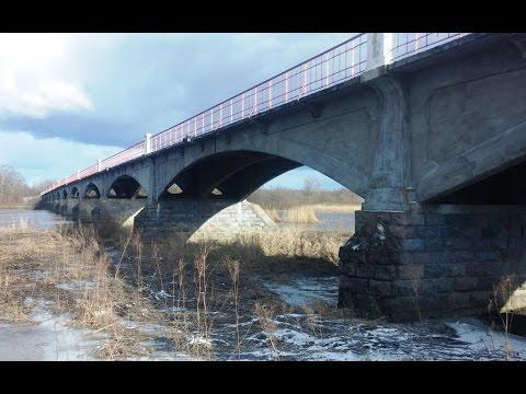 Kasari River and historic bridge. Estonia