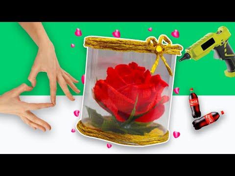 Идея из БУМАГИ и ПЛАСТИКОВОЙ БУТЫЛКИ своими руками. DIY Цветы из бумаги в пластиковой колбе