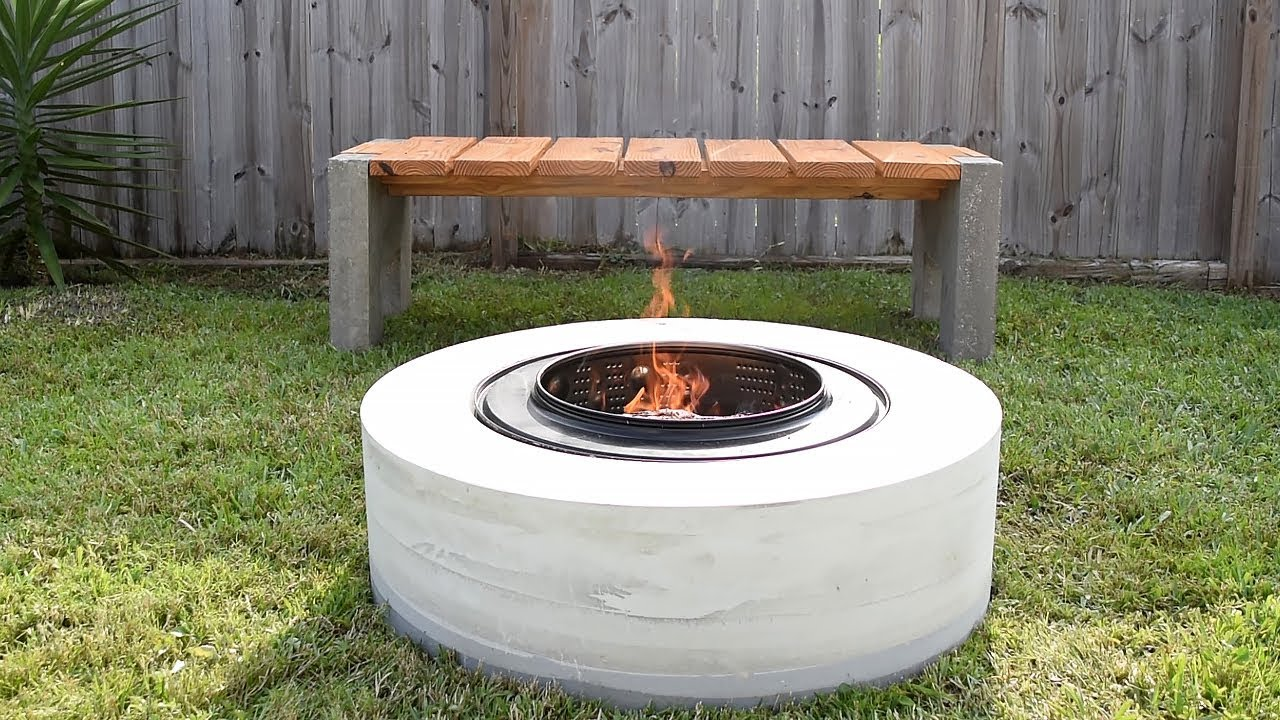 Making A Concrete FIRE PIT   from a washing machine drum ...