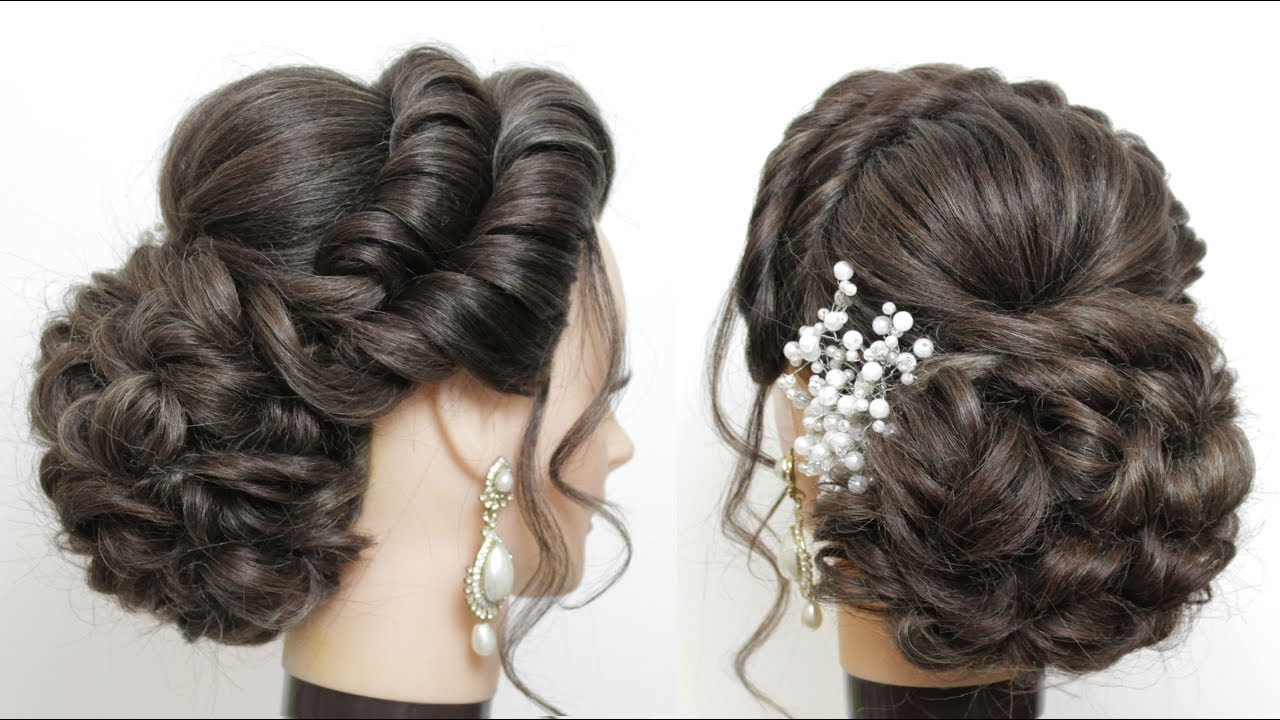 New Bridal Hairstyle For Girls With Long Hair Messy Bun Updo Youtube