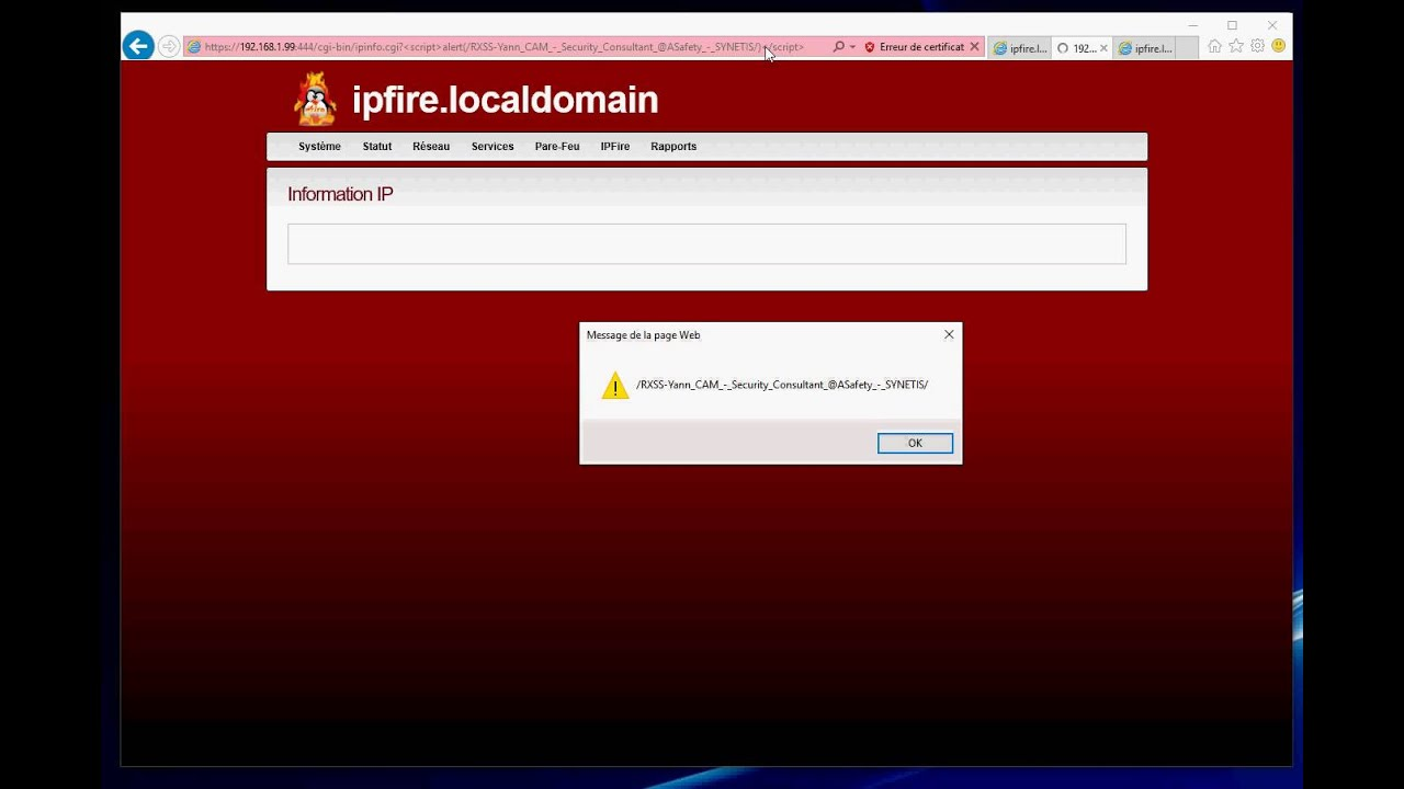 ASafety » [XSS & RCE] IPFire < 2 19 Core Update 101 - Remote command