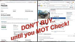 Mazda Bongo / Friendee / Ford Freda: Checking MOT History before buying!