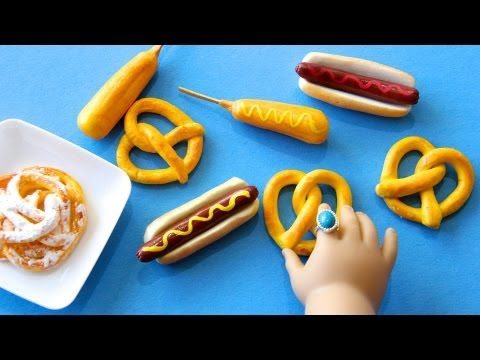 Thumbnail: How to Make Doll Carnival Food : Hot Dogs, Funnel Cake, Corn Dogs and Pretzels