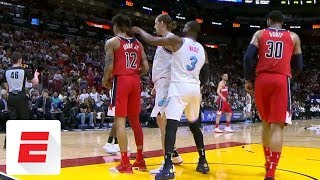 Dwyane Wade picks up technical foul for poking Kelly Oubre Jr. | ESPN
