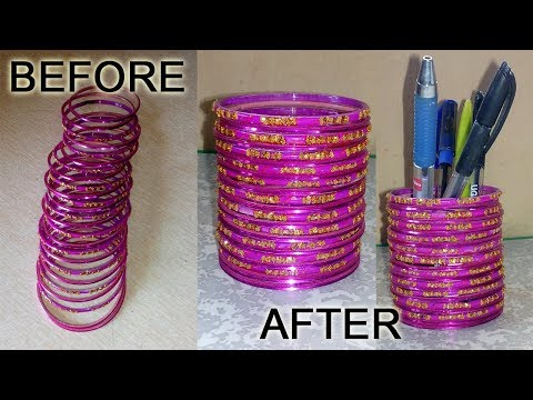 How to make pen stand with Old Bangles | DIY | Best out of Waste | Niya Kumar