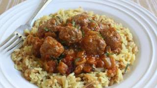 Mini Lamb Meatballs With Spicy Eggplant Tomato Sauce - Lamb Meatballs Recipe