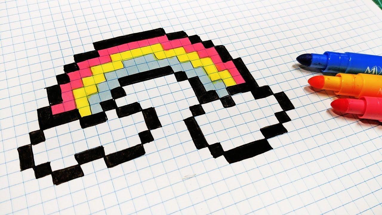 Handmade Pixel Art How To Draw A Rainbow Pixelart Youtube