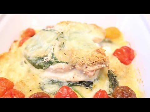 poulet-gratiné-aux-épinards-et-au-fromage