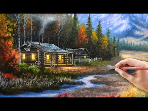 Painting a cabin in the mountains with acrylics youtube for Log cabin painting