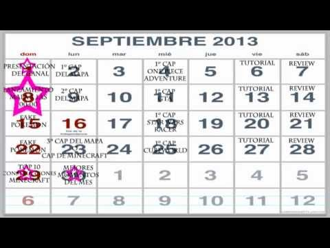 Calendario De Septiembre.Presentacion Del Canal Calendario Septiembre 2013
