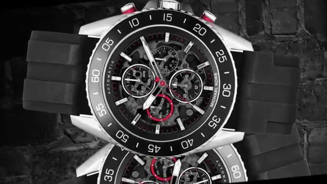 6bf7fc1bac0b Relógio - Michael Kors Men s Automatic Chronograph JetMaster Black Silicone  Strap Watch 45mm MK9013 - YouTube